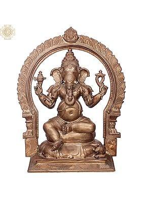 "18"" Sitting Ganesha with Kirtimukha Prabhavali | Handmade | Madhuchista Vidhana (Lost-Wax) | Panchaloha Bronze from Swamimalai"