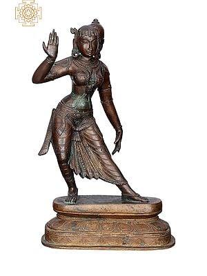 "13"" Dancing Lady | Handmade | Madhuchista Vidhana (Lost-Wax) | Panchaloha Bronze from Swamimalai"