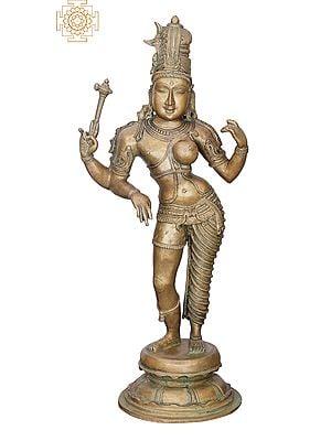 "19"" Ardhanarishvara | Handmade | Madhuchista Vidhana (Lost-Wax) | Panchaloha Bronze from Swamimalai"