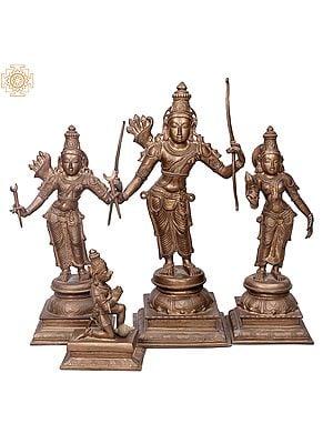 "24"" Rama Darbar (Ramar Set) | Handmade | Madhuchista Vidhana (Lost-Wax) | Panchaloha Bronze from Swamimalai"