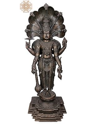 "77"" Superfine and Super Large Shri Satyanarayan | Handmade | Madhuchista Vidhana (Lost-Wax) | Panchaloha Bronze from Swamimalai"