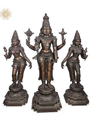 "65"" Superfine and Super Large Perumal with Sri Devi and Bhu Devi Bronze Set | Handmade | Madhuchista Vidhana (Lost-Wax) | Panchaloha Bronze from Swamimalai"