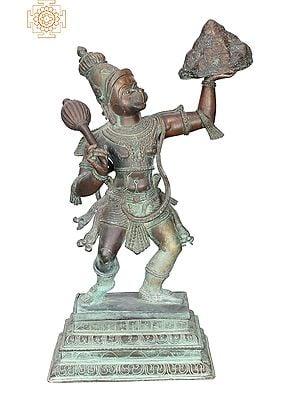"19"" Hanuman with Mountain | Handmade | Madhuchista Vidhana (Lost-Wax) | Panchaloha Bronze from Swamimalai"