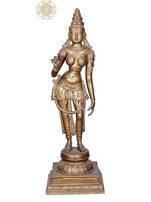 "18"" Sivagami (Devi Parvati)| Handmade | Madhuchista Vidhana (Lost-Wax) | Panchaloha Bronze from Swamimalai"
