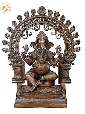 "21"" Sitting Ganesha with Big Arch  | Handmade | Madhuchista Vidhana (Lost-Wax) | Panchaloha Bronze from Swamimalai"