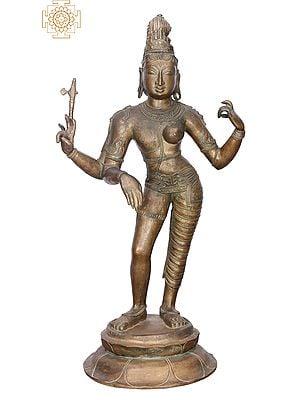 "28"" Ardhanarishvara | Handmade | Madhuchista Vidhana (Lost-Wax) | Panchaloha Bronze from Swamimalai"