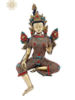 Superfine Tibetan Buddhist Green Tara with Colorful Inlay Work and Copper Wire