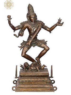 "18"" Shiva Tandava | Handmade | Madhuchista Vidhana (Lost-Wax) | Panchaloha Bronze from Swamimalai"