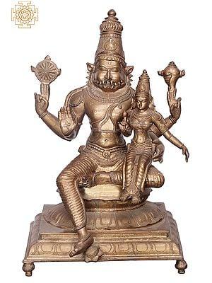 "16"" Bhagawan Narasimha with Lakshmi Ji | Handmade | Madhuchista Vidhana (Lost-Wax) | Panchaloha Bronze from Swamimalai"