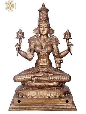 "35"" Sitting Maha Lakshmi | Handmade | Madhuchista Vidhana (Lost-Wax) | Panchaloha Bronze from Swamimalai"