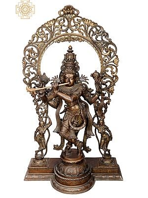 "46"" Krishna with Arch | Handmade | Madhuchista Vidhana (Lost-Wax) | Panchaloha Bronze from Swamimalai"