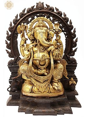 Sitting Lord Ganesha Ji With Temple Arch