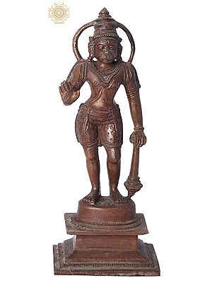 "7"" Ashirwad Anjaneya (Hanuman Ji) Handmade | Madhuchista Vidhana (Lost-Wax) | Panchaloha Bronze from Swamimalai"