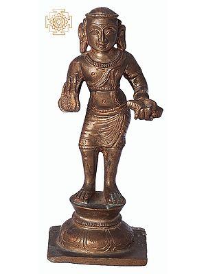 """5.5"""" Manikkavacakar   Handmade   Madhuchista Vidhana (Lost-Wax)   Panchaloha Bronze from Swamimalai"""