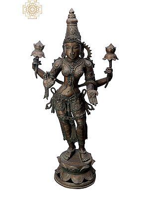 "33"" Large Standing Lakshmi | Handmade | Madhuchista Vidhana (Lost-Wax) | Panchaloha Bronze from Swamimalai"