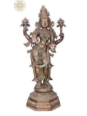 "36"" Large Lakshmi | Handmade | Madhuchista Vidhana (Lost-Wax) | Panchaloha Bronze from Swamimalai"