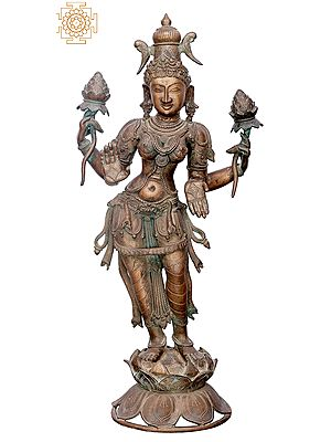 "30"" Devi Lakshmi | Handmade | Madhuchista Vidhana (Lost-Wax) | Panchaloha Bronze from Swamimalai"
