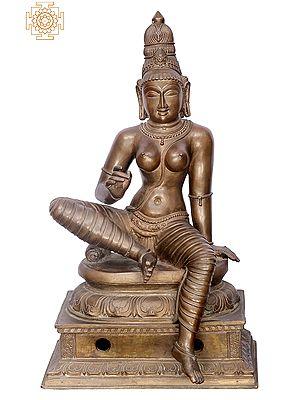 "20"" Bogasakthi (Devi Parvati) | Handmade | Madhuchista Vidhana (Lost-Wax) | Panchaloha Bronze from Swamimalai"