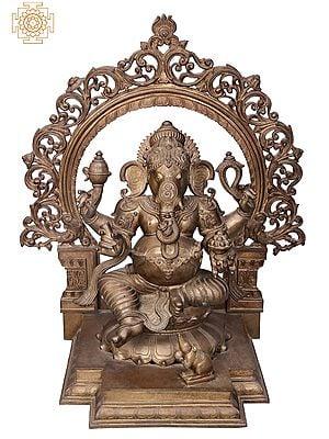 "38"" Large Ganesha with Designer Arch | Handmade | Madhuchista Vidhana (Lost-Wax) | Panchaloha Bronze from Swamimalai"
