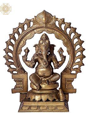 "12"" Sitting Bhagawan Ganesha with Arch | Handmade | Madhuchista Vidhana (Lost-Wax) | Panchaloha Bronze from Swamimalai"