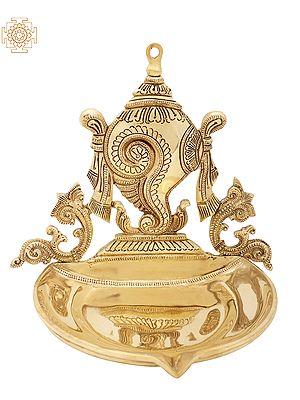 Superfine Conch Wick Lamp (Vaishnava Symbol)