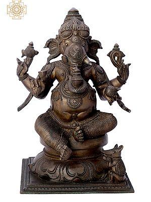 "12"" Sitting Lord Ganesha | Handmade | Madhuchista Vidhana (Lost-Wax) | Panchaloha Bronze from Swamimalai"