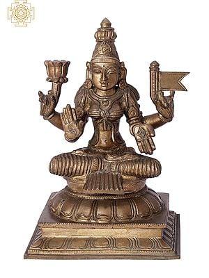 "10"" Sitting Devi Lakshmi | Handmade | Madhuchista Vidhana (Lost-Wax) | Panchaloha Bronze from Swamimalai"