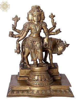"13"" Lord Dattatreya | Handmade | Madhuchista Vidhana (Lost-Wax) | Panchaloha Bronze from Swamimalai"