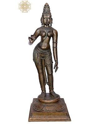 "42"" Large Sivagami (Goddess Uma) | Handmade | Madhuchista Vidhana (Lost-Wax) | Panchaloha Bronze from Swamimalai"