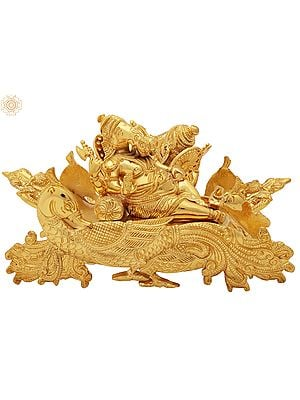Gold Plated Ganesha Relaxing on a Peacock Recliner