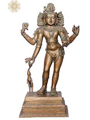 "39"" Bhikshasthana Shiva (Pitchandaver) | Handmade | Madhuchista Vidhana (Lost-Wax) | Panchaloha Bronze from Swamimalai"