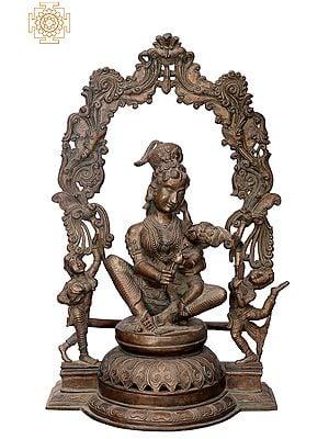 "21"" Mother Yashoda with Krishna | Handmade | Madhuchista Vidhana (Lost-Wax) | Panchaloha Bronze from Swamimalai"