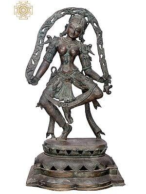 "33"" Large Dancing Lady | Handmade | Madhuchista Vidhana (Lost-Wax) | Panchaloha Bronze from Swamimalai"