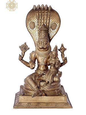 "12"" Bhagawan Narasimha with Lakshmi Ji | Handmade | Madhuchista Vidhana (Lost-Wax) | Panchaloha Bronze from Swamimalai"