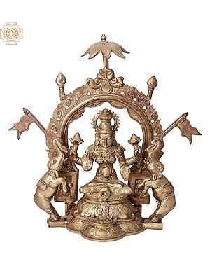 "12"" Gaja Lakshmi | Handmade | Madhuchista Vidhana (Lost-Wax) | Panchaloha Bronze from Swamimalai"