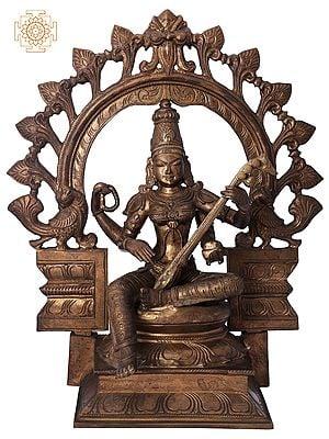 "15"" Devi Saraswati with Kirtimukha Prabhavali | Handmade | Madhuchista Vidhana (Lost-Wax) | Panchaloha Bronze from Swamimalai"
