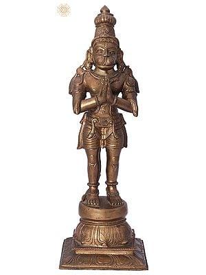 "13"" Shri Hanuman in Namaskara Mudra | Handmade | Madhuchista Vidhana (Lost-Wax) | Panchaloha Bronze from Swamimalai"