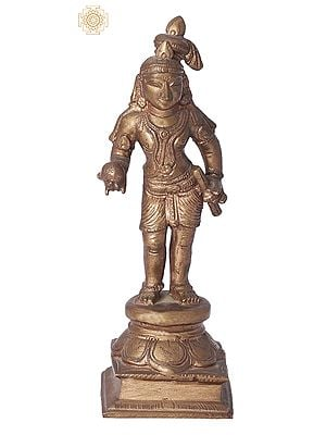 "6"" Laddoo Gopala (Krishna) | Handmade | Madhuchista Vidhana (Lost-Wax) | Panchaloha Bronze from Swamimalai"