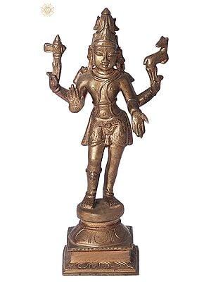 "6"" Pashupatinath (Sivan)   Handmade   Madhuchista Vidhana (Lost-Wax)   Panchaloha Bronze from Swamimalai"