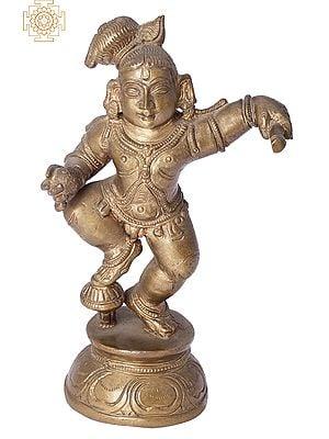 "6"" Butter Krishna (Laddoo Gopala) | Handmade | Madhuchista Vidhana (Lost-Wax) | Panchaloha Bronze from Swamimalai"