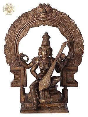 """10"""" Devi Saraswati   Handmade   Madhuchista Vidhana (Lost-Wax)   Panchaloha Bronze from Swamimalai"""