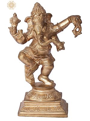 "6"" Dancing Ganesha | Handmade | Madhuchista Vidhana (Lost-Wax) | Panchaloha Bronze from Swamimalai"