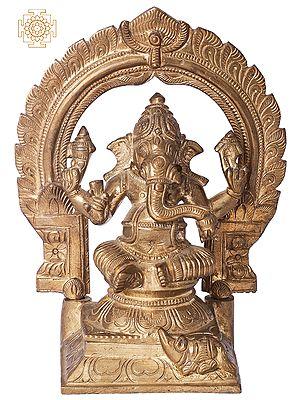 "6"" Sitting Ganesha with Arch | Handmade | Madhuchista Vidhana (Lost-Wax) | Panchaloha Bronze from Swamimalai"