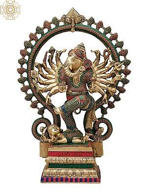 Dancing Ganesha with Kirtimukha Prabhavali (Inlay Work)