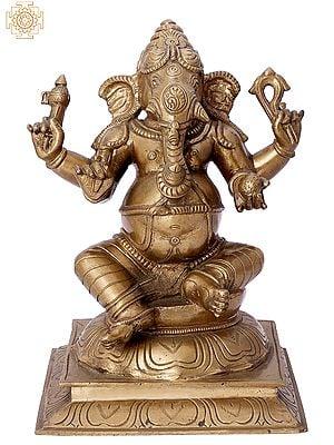 """9"""" Bhagawan Shri Ganesha   Handmade   Madhuchista Vidhana (Lost-Wax)   Panchaloha Bronze from Swamimalai"""