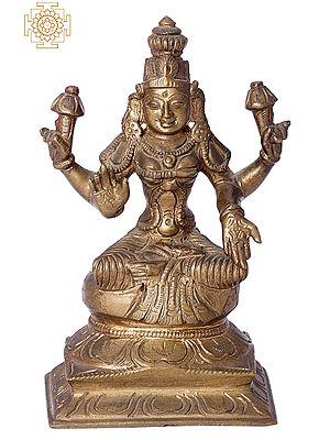 "5"" Small Devi Lakshmi | Handmade | Madhuchista Vidhana (Lost-Wax) | Panchaloha Bronze from Swamimalai"