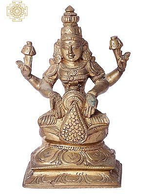"5"" Small Kubera Lakshmi | Handmade | Madhuchista Vidhana (Lost-Wax) | Panchaloha Bronze from Swamimalai"