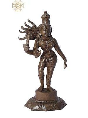 "6"" Ardhanarishvara | Madhuchista Vidhana (Lost-Wax) | Panchaloha Bronze from Swamimalai"