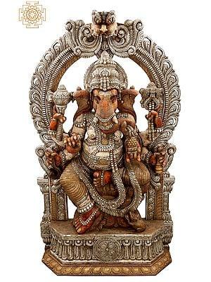 "73"" Superfine and Super Large Bhagawan Ganesha with Kirtimukha Prabhavali | Lord Ganesha | God of Wisdom |Elephant Head God|"