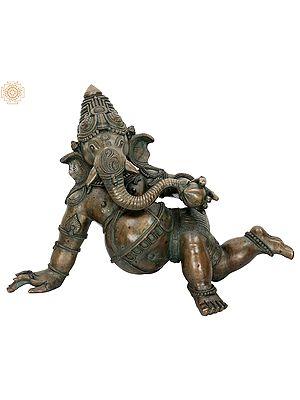 "14"" Crawling Baby Ganesha | Handmade | Madhuchista Vidhana (Lost-Wax) | Panchaloha Bronze from Swamimalai"